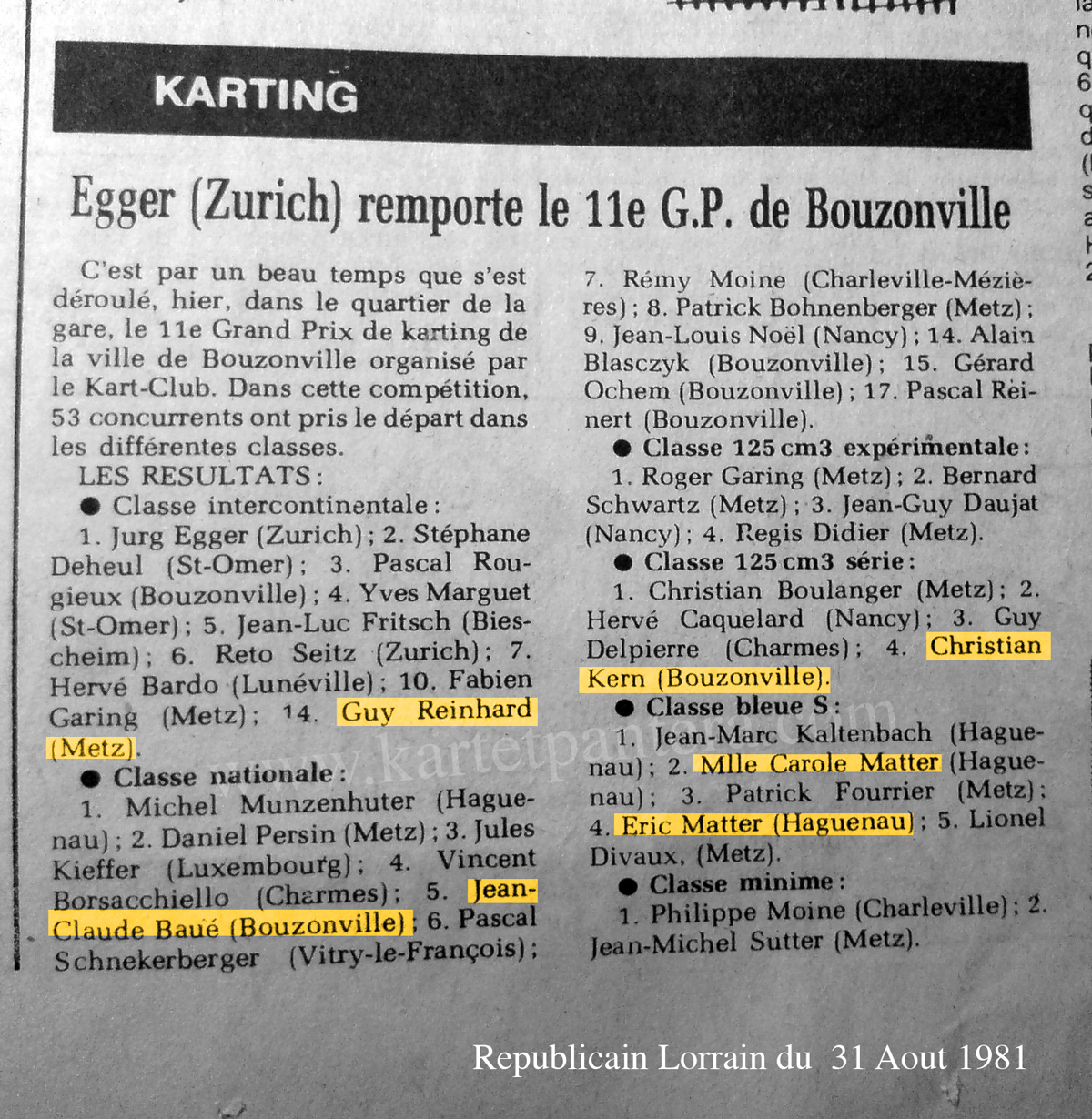 Article GP de Bouzonville Karting 1981